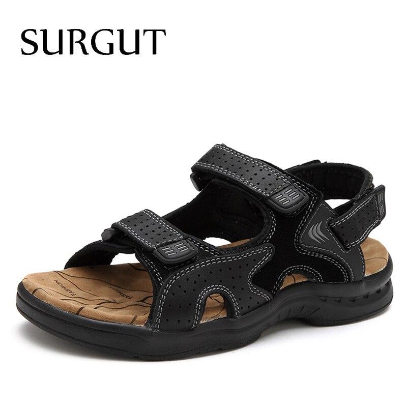 SURGUT Fashion Casual Men Beach Sandals Handmade Genuine Leather Summer Shoes Retro Sewing Classics Men Footwear Zapatos Hombre