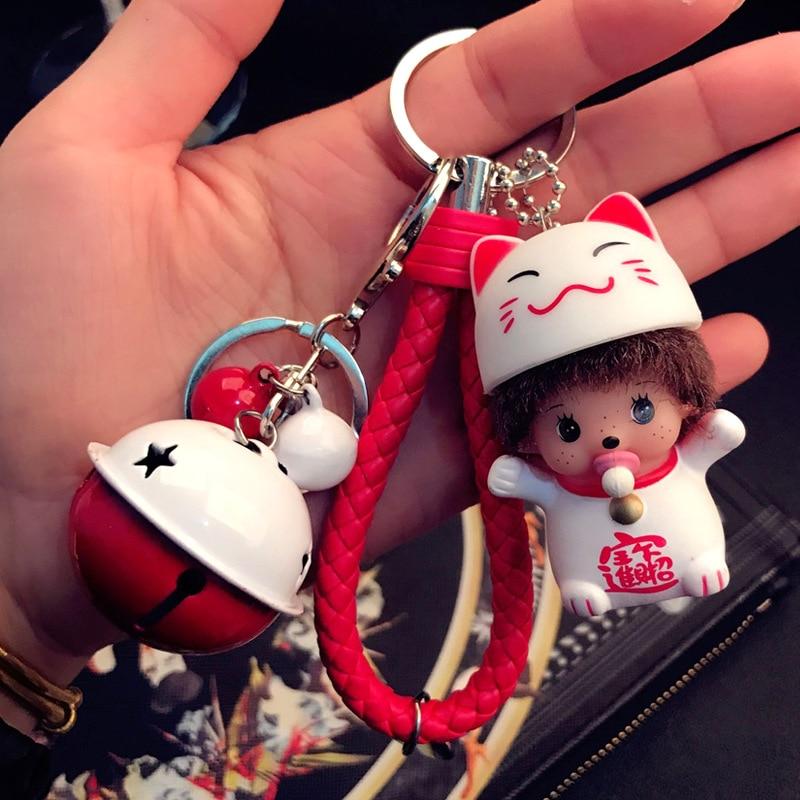 Mix 12 Style Braided Leather Monchichi Dolls for Car Keychain Women Key Holder Bag Key Chains Key Rings, Dropshipping!