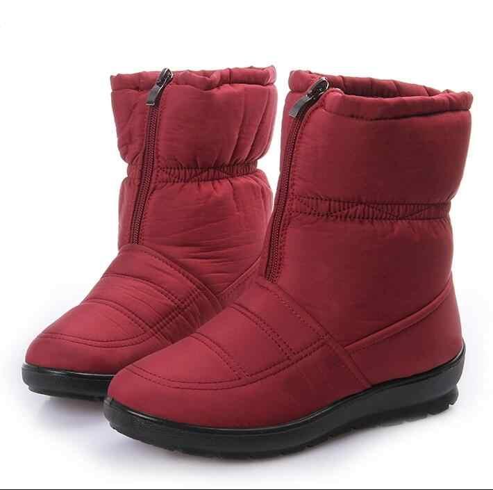 ใหม่ 2018 พลัสขนาด 35-42 กันน้ำยืดหยุ่น Cube ผู้หญิงรองเท้าคุณภาพสูง Cozy Warm Fur ภายใน Snow Boots ฤดูหนาวรองเท้าผู้หญิง