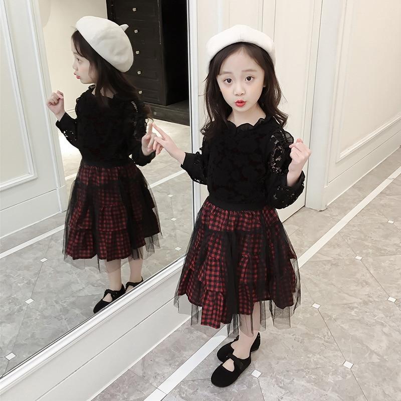 Autumn Children's Wear Three Pieces Set New Girls Lace Long Sleeved Dress Children's Lace Princess Dress.
