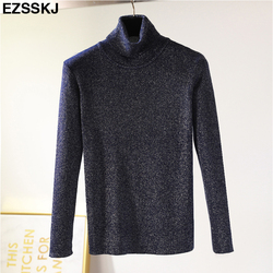 Glitter Turtleneck knit sweater Shinny Chic Women Sweaters And Pullovers spring Autumn thin bling Lurex slim baisc sweater 5