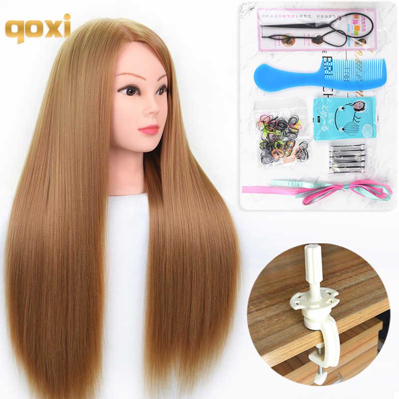 Qoxi szkolenie zawodowe głowy z długimi grubymi włosami praktyka manekin fryzjerski lalki stylizacja włosów maniqui tete na sprzedaż