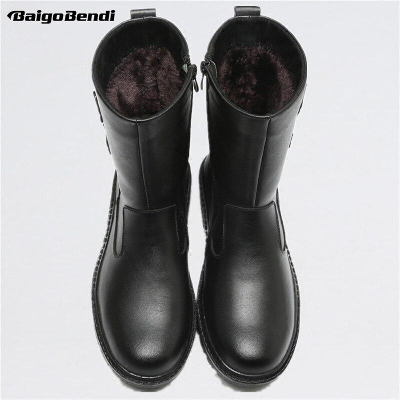 미국 크기 새로운 트렌디 망 가죽 지퍼 방수 슈퍼 따뜻한 중반 송아지 스노우 부츠 겨울 야외 플러시 면화 신발-에서겨울 부츠부터 신발 의  그룹 1