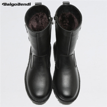 US Size New Trendy Mens Leather Zip Waterproof Super Warm Mid-calf Snow Boots Winter Outdoor Plush Cotton Shoes