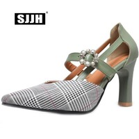 SJJH Woman Gingham Sandals with 7cm High Heels Square Toe Flower Buckle Footwear Fashion Elegant Sweet Shoes Large Size A340