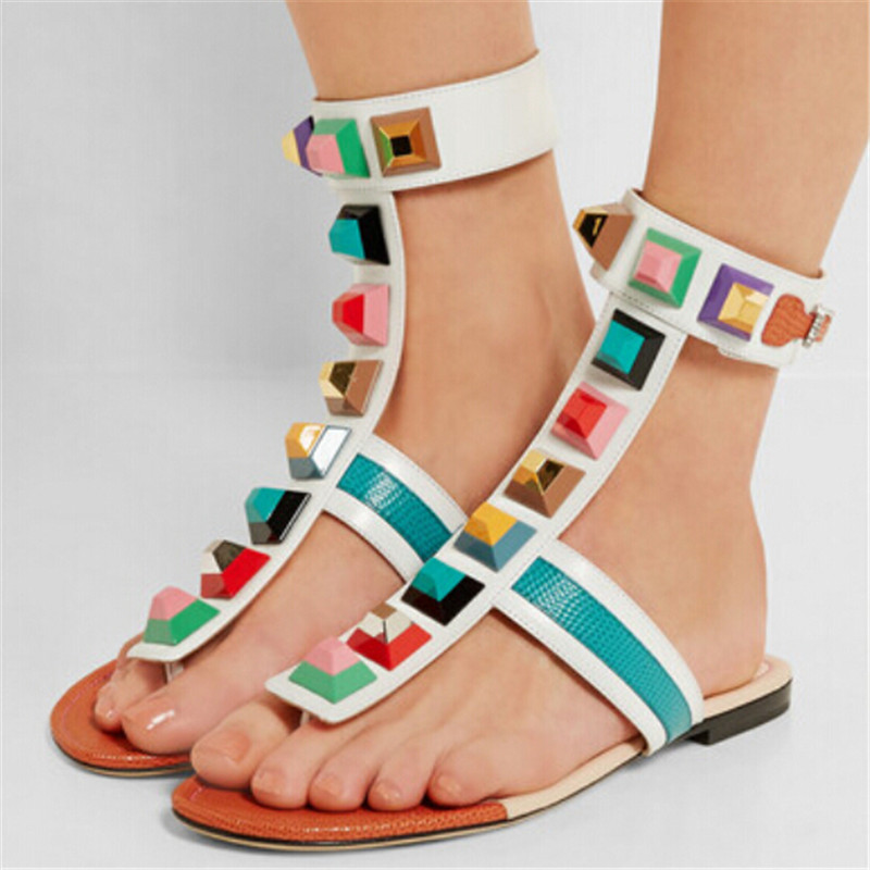 Hot Lastest Rome Boho Style Flat Sandals Flip Flops Colorful Rivets Gladiator Sandals Women Summer Shoes Woman Sandalias Mujer summer style ankle tie flat sandals crosscriss rome boho gladiator sandals women flip flops casual shoes woman sandalias mujer