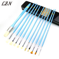 LZN Professional Fashion Nylon Hair Acrylic Painting Brush Set For School Children Drawing Tool Watercolor Brush with Luxury Box