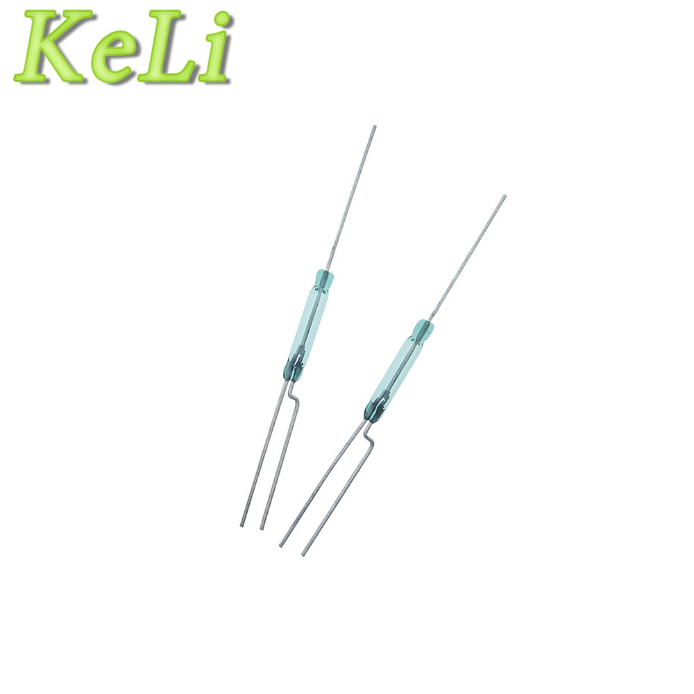 100PCS LOT Reed Switch 2X14MM GLASS Green 3 pin normally open and normally close Low Voltage