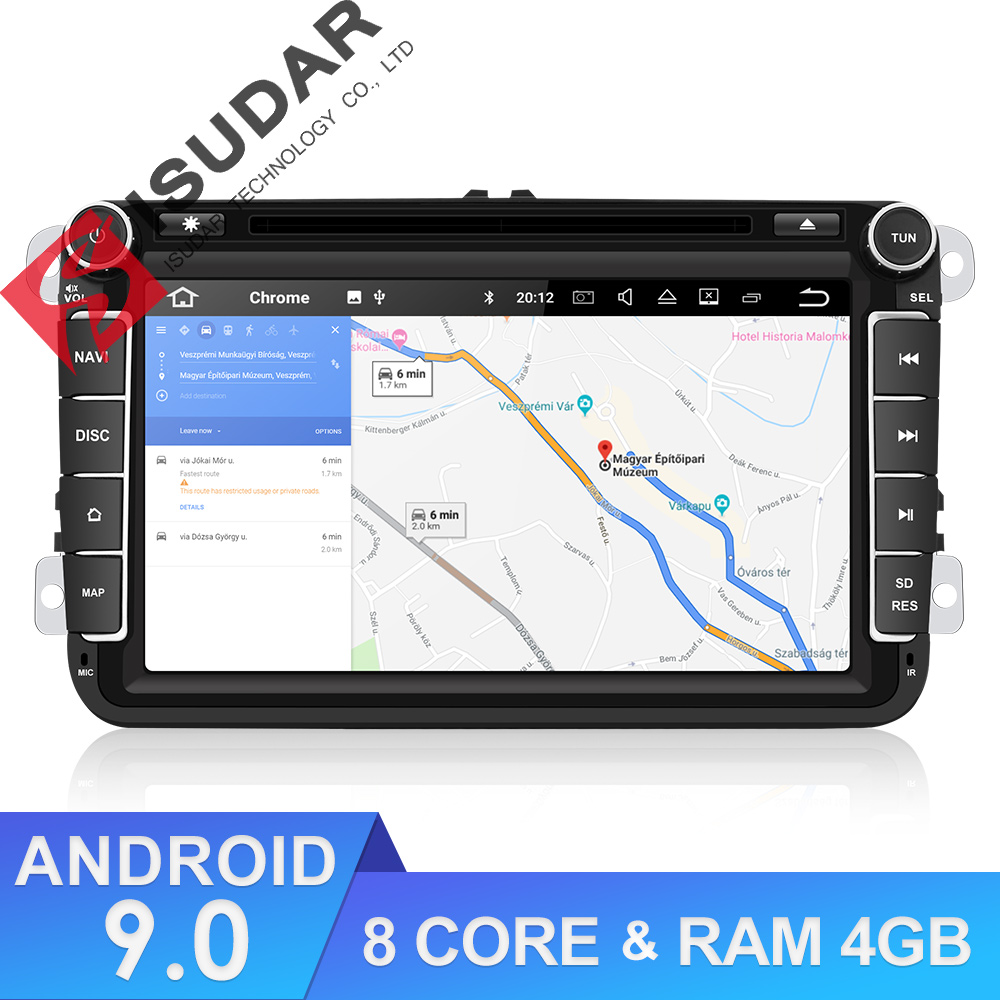 Isudar coche reproductor Multimedia Android 9 GPS 2 Din coche Radio Audio Auto para VW/Volkswagen/POLO/ PASSAT Golf/8 núcleos RAM 4G USB DVR