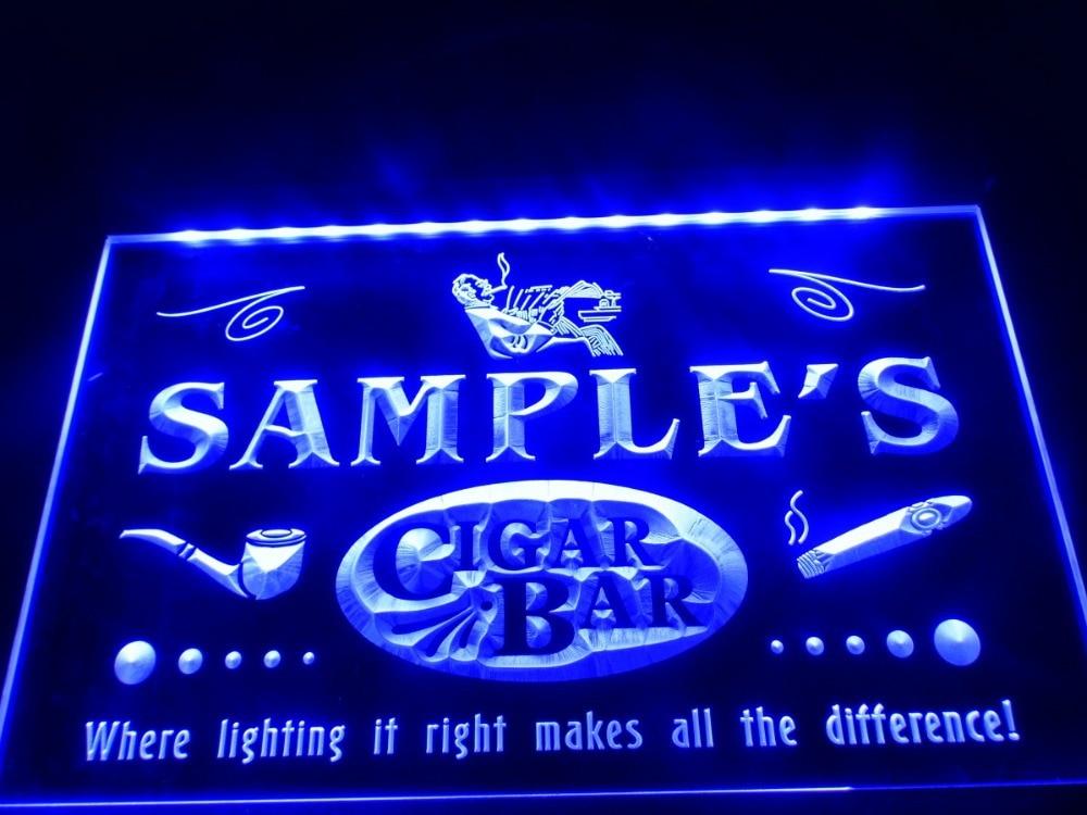 DZ056 Name Personalized Custom Cigar Pipe Bar Lounge LED