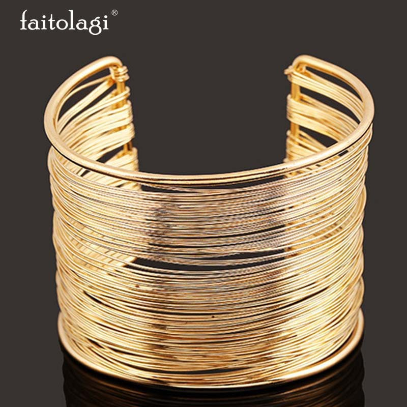 Punk Bracelets Bangles For Women font b Jewelry b font Metal Bangles Open Bangle With Circle