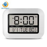 Electronic Desk Bedside Alarm   Clock   with Temperature Snooze Calendar Big Number Large LCD Digital Wall   Clock   Table Watch Nixie