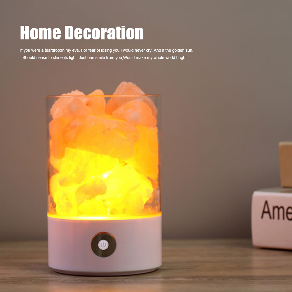 natural dimmable mineral himalayan lampshade therapy shell air from salt product romantic purification lamp crystal rock table