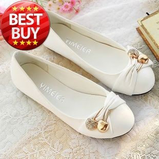SIZE 34-43 ! Lovely Lady flat shoes for Women shoes & Black,Red,White,Green Soft Slip-On Female Shoes With Metallic Ball