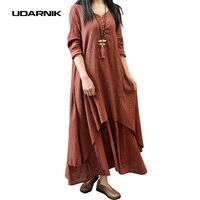 Womens Ladies Retro Bohemia Loose Ethnic Boho Cotton Linen Long Sleeve Chinese Style Maxi Gypsy Dress