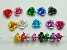 ФОТО 200 mixed colour aluminum metal rose flower beads 6mm finding