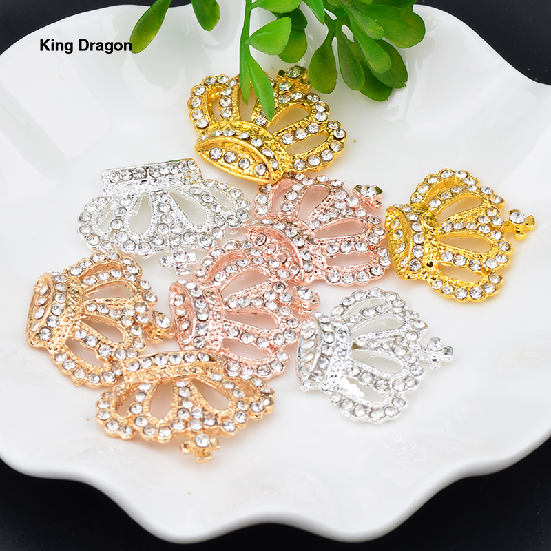 New Arrival Rhinestone Crown Embellishment Used On Invitation Flat Back 28MM*24MM 20PCS/Lot 4 Colors Decoration Tiara KD541