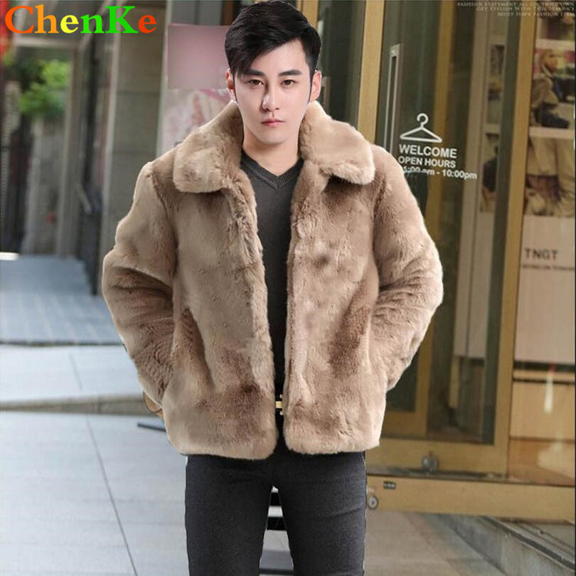 ChenKe Warm faux silver fox fur coat mens leather jacket men trench coat villus thicken winter loose thermal england outerwear