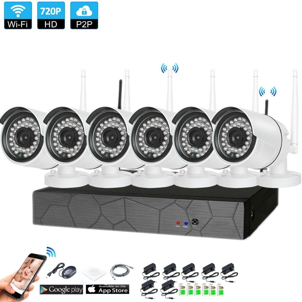 Plug and Play 6CH 1080 p HD inalámbrico Kit NVR P2P 720 p interior al aire libre IR visión nocturna de seguridad 1.0MP IP Cámara WIFI CCTV sistema