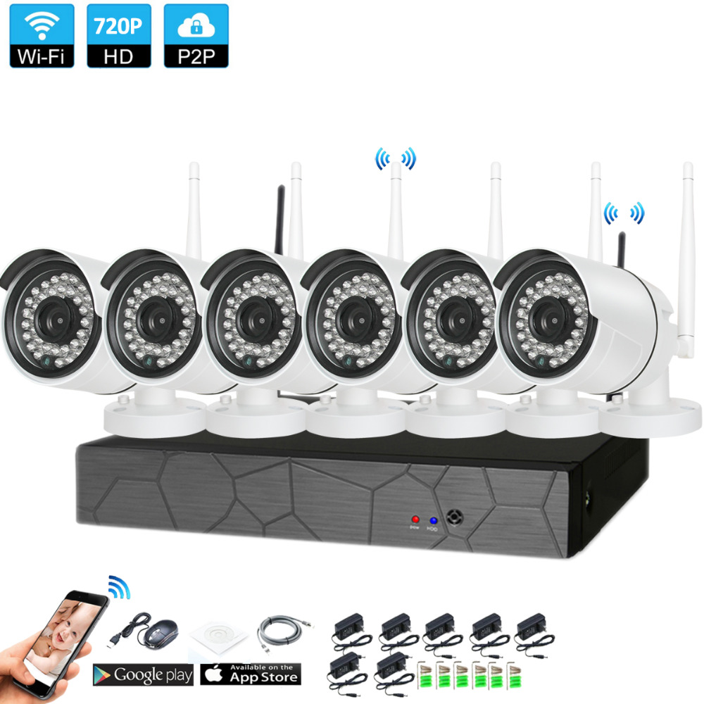 Plug and Play 6CH 1080P HD Wireless NVR Kit P2P 720P Indoor Outdoor IR Night Vision Security 1.0MP IP Camera WIFI CCTV System escam wnk403 plug and play wireless nvr kit p2p 720p hd outdoor ir night vision security ip camera wifi cctv system