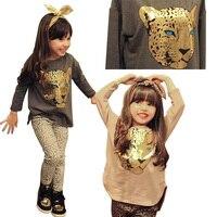 2018 Bébé D'été Filles Vêtements Ensembles 2-8 Ans Enfant Tigre Tops + Léopard Legging 2 pcs Fille Vêtements Set Enfants Costume Costume