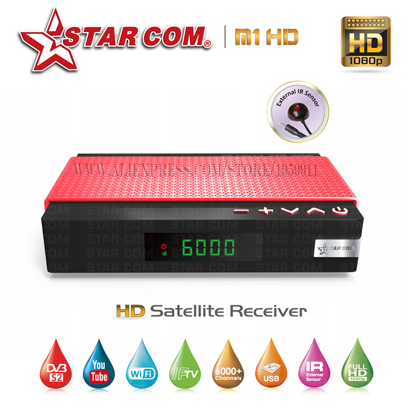 STARCOM M1 Satellite TV Receiver With Free IPTV  Full HD  IPTV Hybrid New Satellite TV Receiver YouTube WiFi Included TV BOX