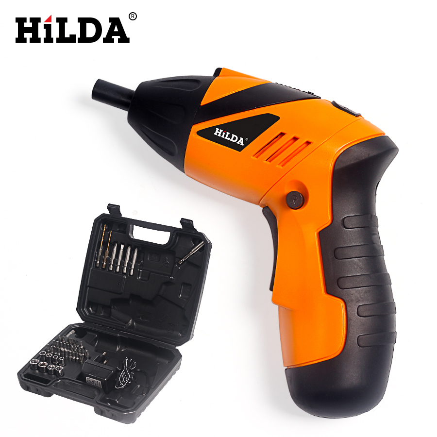цена на HILDA Cordless Screwdriver Electric 4.8V Household Multifunction Electric Drill Tools LED Light Rechargeable