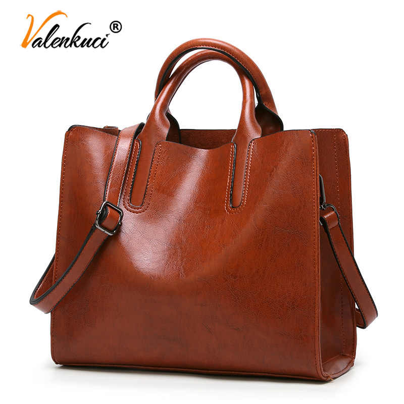 Valenkuci Leather Handbags Big Women Bag High Quality Casual Female Bags Trunk Tote Famous Brand Shoulder Bag Ladies Bolsos
