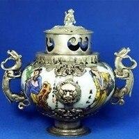 Tibetan Silver Porcelain Censer Monkey Lid Free Shipping
