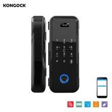 APP Remote sending PIN code fingerprint smart lock for glass and wooden door