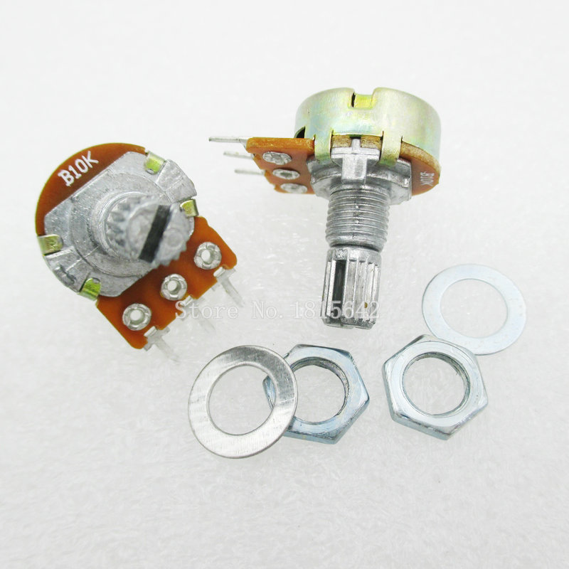 5PCS/LOT WH148 B10K Linear Potentiometer 15mm Shaft With Nuts And Washers Hot 3Pin High Quality