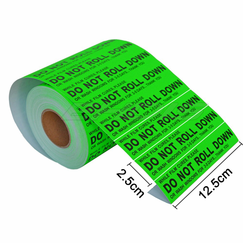 EHDIS 100pcs DO NOT ROLL DOWN Warning Peel and Stick Labels for Car Window Film Curing Process Professional Tinter tag boar