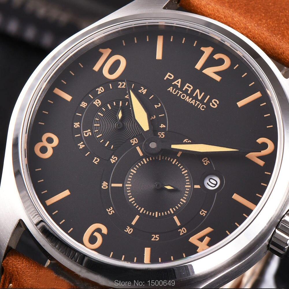 Parnis Miyota 8219 automatyczne mechaniczne 44mm mężczyźni zegarek na rękę 24 godziny mały druga w Zegarki mechaniczne od Zegarki na  Grupa 2
