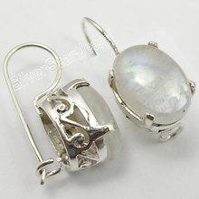 Chanti международных одноцветное серебро реального Радужный Лунный Камень Серьги 2.7 см женские ювелирные изделия