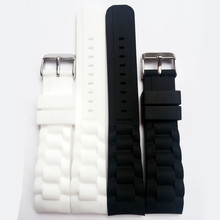 цены 20mm Waterproof Silicone Rubber Radian / Arc Degree Strap Watch Parts Watch Band Buckle + Tools + Spring Bar