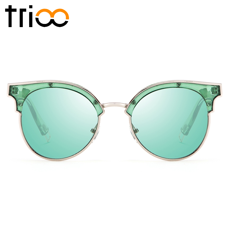 TRIOO Fashion Jelly Color Women Sunglasses Box Brand Designer Sweet Oculos Clear Green Ladies Sun Glasses Mirror Shades Eyewear