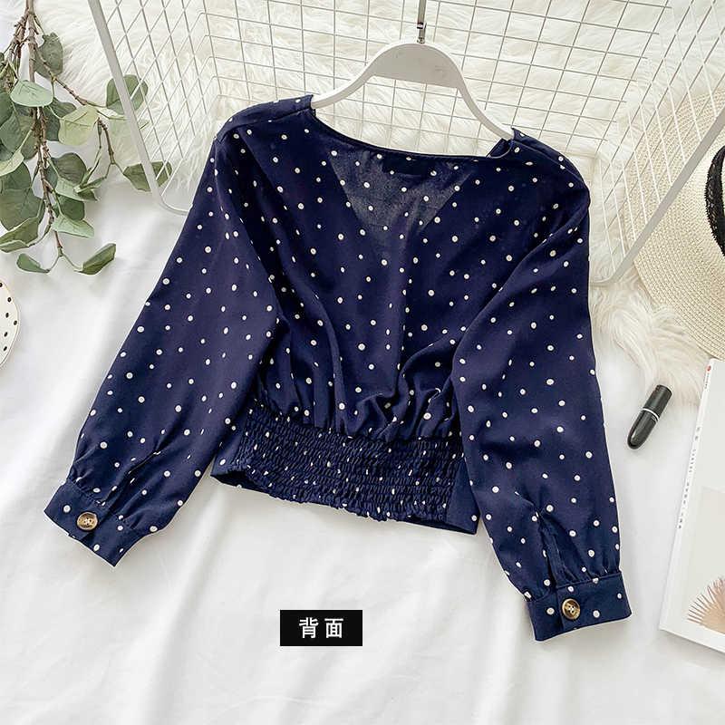 Boho kobiet popy i bluzki kobieta odzież 2019 Sexy V szyi w stylu Vintage Blusas szyfonowa Polka Dot koszula damska elegancka Fit Top LW1060