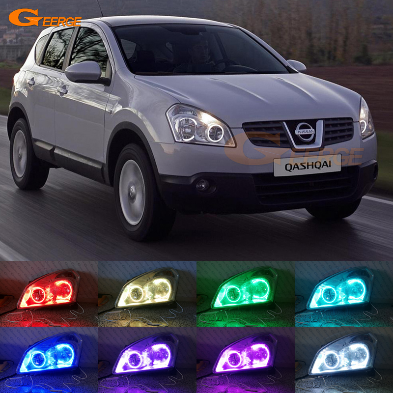 For Nissan Qashqai 2007 2008 2009 2010 Excellent Angel Eyes Multi-Color Ultra bright RGB LED Angel Eyes kit Halo Rings for lifan 620 solano 2008 2009 2010 2012 2013 2014 excellent angel eyes multi color ultra bright rgb led angel eyes kit
