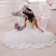 Elegant Tulle Ball Gown Off The Shoulder Appliques Little Bridesmaid Wedding Dress Beaded Crystal Custom Made Vetsidos de Noiva