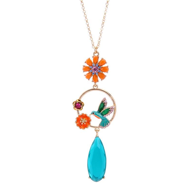 Enamel Flower Bird Pendant Necklace 2017 New Designer Jewelry Waterdrop Sweater Chain Necklace Accessories for Women