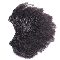 Afro Kinky Curly Clip In Human Hair Extensions 4B 4C Brazilian Human Natural Hair Clip Ins VENVEE Remy