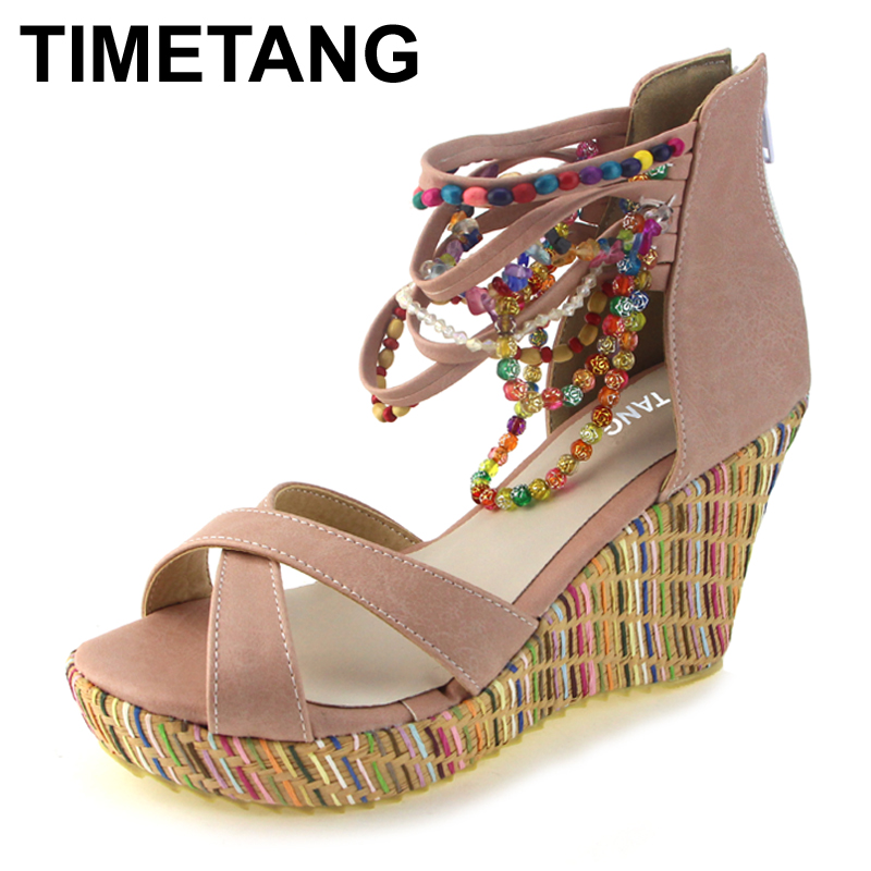 TIMETANG fashion new Bohemia beaded sandals female wedge platform shoes gladiator ankle strap elegant women high heel sandals casual bohemia women platform sandals fashion wedge gladiator sexy female sandals boho girls summer women shoes bt574