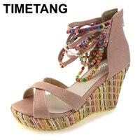 TIMETANG thời trang new Bohemia dép nữ đính cườm wedge nền tảng giày đấu sĩ dây đeo mắt cá chân phụ nữ thanh lịch cao dép gót chân