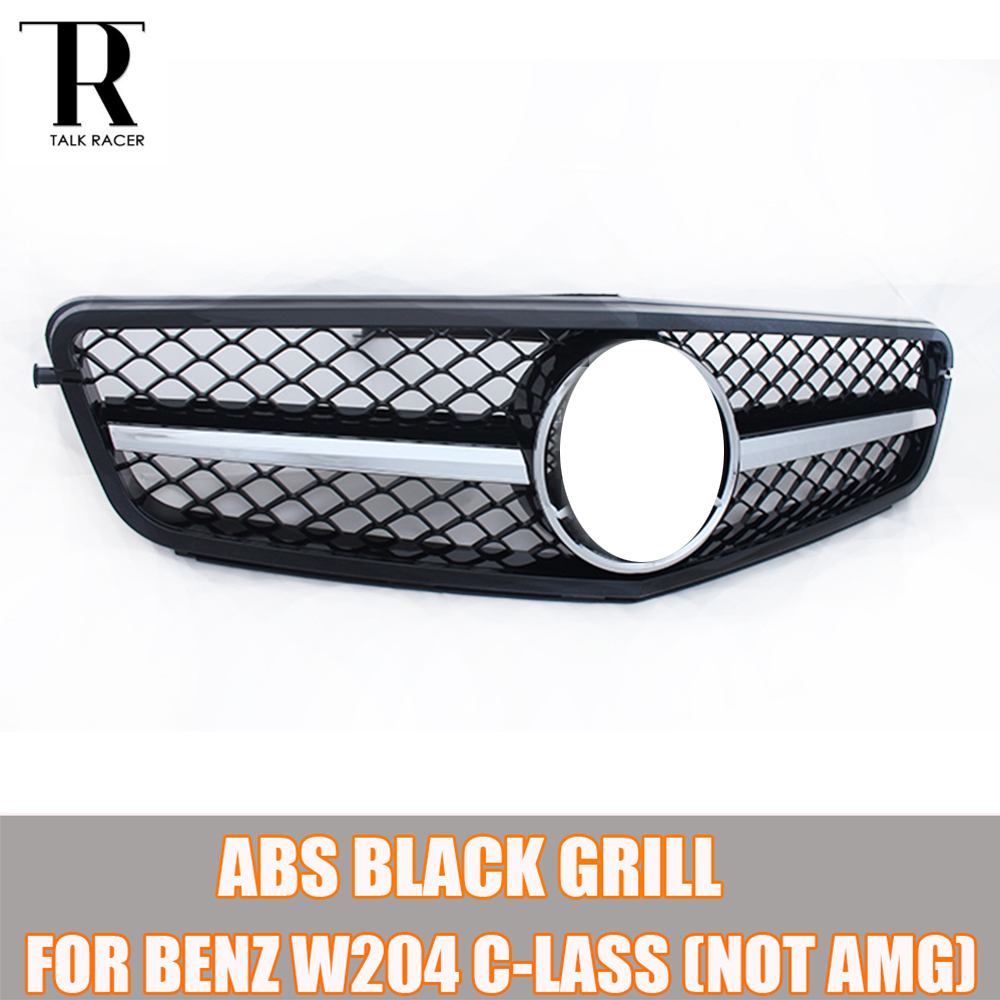 W204 Black ABS C-Class Front Bumper Grill Grille for Mercedes Benz W204 C-CLASS C180 C200 C260 C300 ( not for AMG ) 07 - 14 car styling led drl for mercedes benz w204 c class c180 c200 c250 c260 c300 2008 2010 led bumper daytime running lights daylight