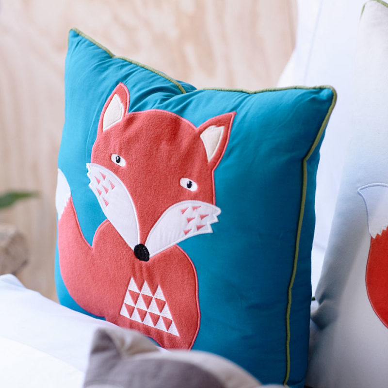 New cartoon children bedding pillow blue fox embroidered boy cushion sofa car bedroom decoration nap cushions pillows gift