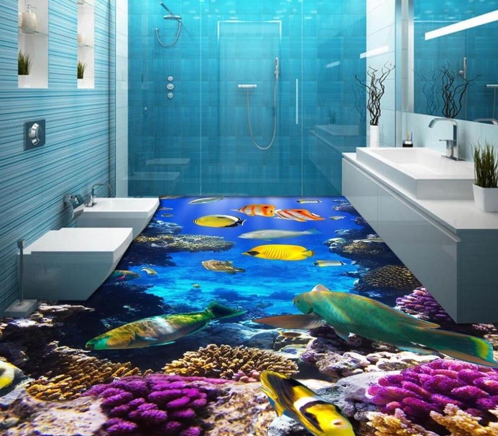 modern sticker 3d floor beach floor ocean fish self