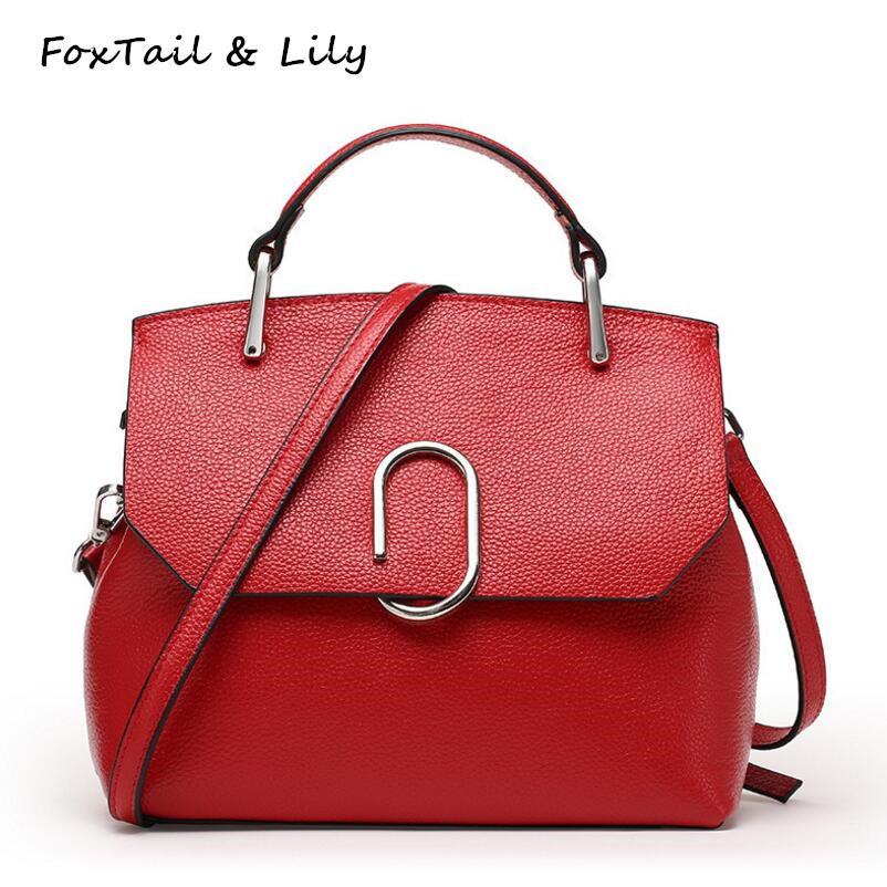 ФОТО FoxTail & Lily Genuine Leather Handbags High Quality Women Messenger Bags Famous Designer Real Leather Shoulder Crossbody Bag