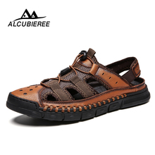 2019 New Comfortable Handmade Men Sandals Genuine Leather Soft Summer Men's Shoes Retro Sewing Casual Beach Shoes Big Size 38-46