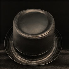 Кожаная мужская черная шляпа-пирожок папа Федора шляпа модный джентльмен плоский Джаз Porkpie топ шляпа Размер s m l xl