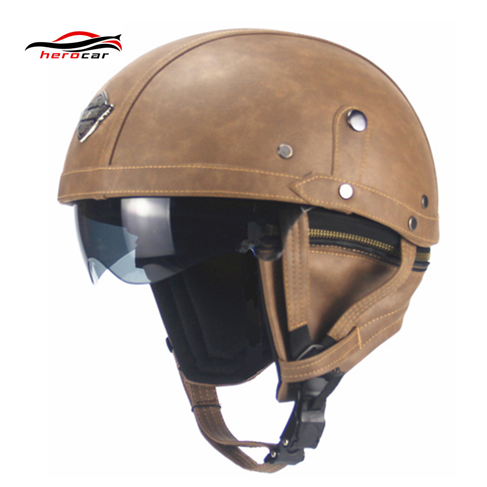 New Retro Vintage Motorcycle Helmet Cruiser Scooter Bike Touring Chopper Half Helmet Synthetic Leather Moto Helmet capacete DOT